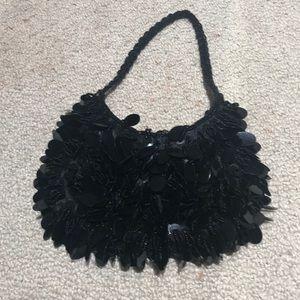 Black beaded small evening bag